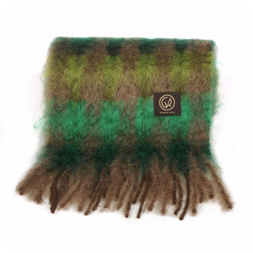 Mohair Scarf - Emerald / Mint Check